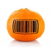 Ripe tangerine with barcode — Stock Photo