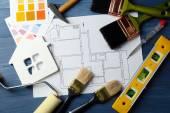 Construction instruments, plan — Stock Photo