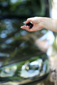 Hand presses on remote control car alarm systems — Stock Photo