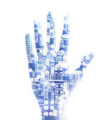 Human palm with microchip picture — Stock Photo