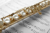 Flute on music notes — Stock Photo