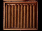 Cigarrer i rutan på bordet, närbild — Stockfoto
