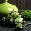 Green tea ice-cream on bamboo mat — Stockfoto #80661612