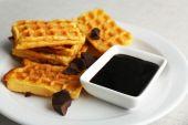 Sweet homemade waffles — Stock Photo