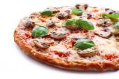Tasty pizza with vegetables and basil close up — Stock Photo