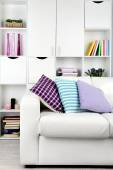 Living room with sofa and bookcase — Stock Photo
