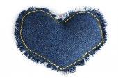 Denim heart isolated on white — Stock Photo