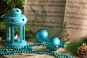 Music notes with Christmas decoration — Stock Photo