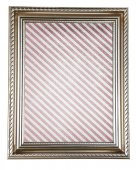 Old frame with striped canvas isolated on white — Stock Photo