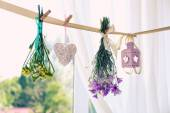 Various herbs, flowers and decorations hanging on thong on light background — Stock Photo