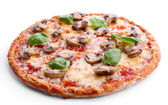 Tasty pizza with vegetables and basil isolated on white — Stock Photo