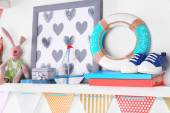 Shelves with toys in child room — Stock Photo