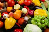Heap of fresh fruits and vegetables close up — Stock Photo