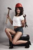Girl mechanic working with tools. — Stock Photo