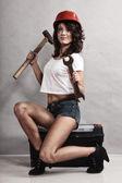 Sexy girl mechanic — Stock Photo