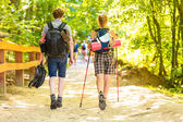 Couple backpacker hiking in forest pathway — Stock Photo