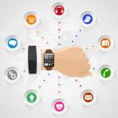 Smart Watch with Applications — 图库矢量图片
