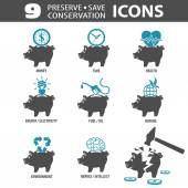 Preserve Save Icons — Stock Vector