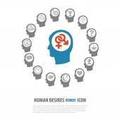 Human Desires Icons — Stock Vector