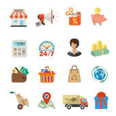 Internet Shopping and Delivery Flat Icon Set — Stock Vector