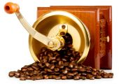 Coffee grinder with  beans — Stock Photo