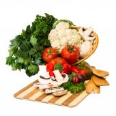 Set fresh vegetables in a basket. — Stock Photo