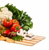 Set of vegetables in a basket — Stock Photo