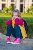 Pensive child girl . — Photo