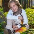 Happy little girl with colored maple leaves. — Stock Photo #56748029