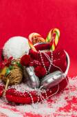 Headphones and red shoes best Christmas gift. — Stock Photo