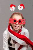 Happy little Christmas child girl with glasses 2015 — Stock Photo