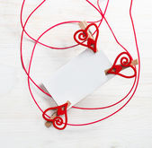 Blank card for text with clothespins hearts.Symbol of love. — Stock Photo