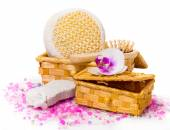 Spa concept. Twig orchid, boxes with salt and other accessories. — Stok fotoğraf