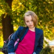 Pretty girl of school age in the autumn park. — Stock Photo #68975665