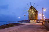 Wooden windmill in Nessebar at night — Stock Photo