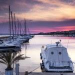 Luxury yacht on the marina at sunset — Stock Photo #72867405