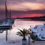 Sunset over the yacht marina — Stock Photo #77378426