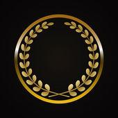 Corona de laurel dorado — Vector de stock
