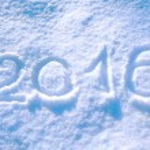 2016 inscription on the snow — Foto de Stock   #56086353
