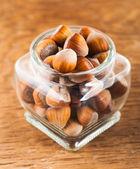 Hazelnuts in a glass jar  — Stockfoto