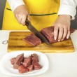 Cook chopped beef fillet  — Stock Photo #60748937