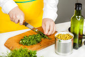 Cook finely shred  — Stock Photo