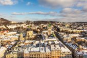 The historic center of the city of Lviv, top view — Stock Photo