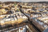 The historic center of the city of Lviv, top view — Stok fotoğraf