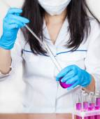 Nurse working with reagents closeup  — Stock Photo