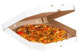 Fresh pizza box isolated — Stock Photo