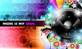 PArty Club Flyer for Music event PArty Club Flyer for Music event with Explosion of colors. with Explosion of colors.  — Vetorial Stock