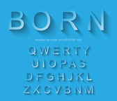 Classic alphabet with modern long shadow effect — Cтоковый вектор