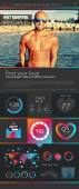 One page dating website flat UI design template. — Vettoriale Stock