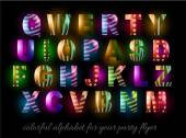 Colorful Alphabet for party flyers — Vettoriale Stock